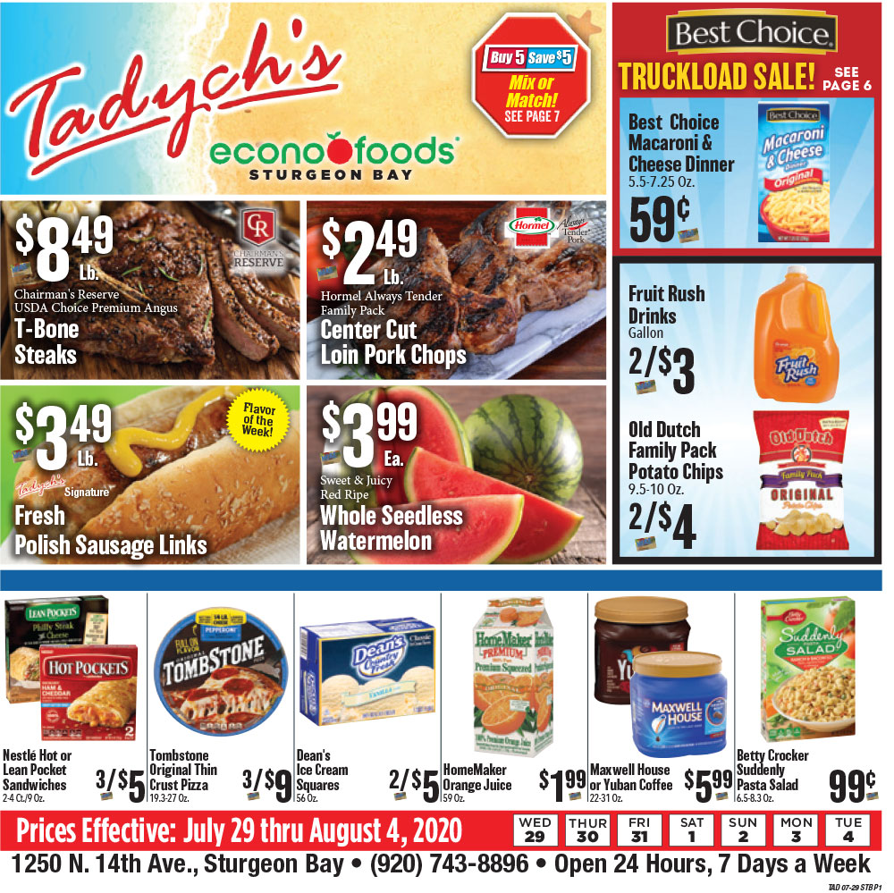Tadych's Sturgeon Bay specials for week of 7-27-20