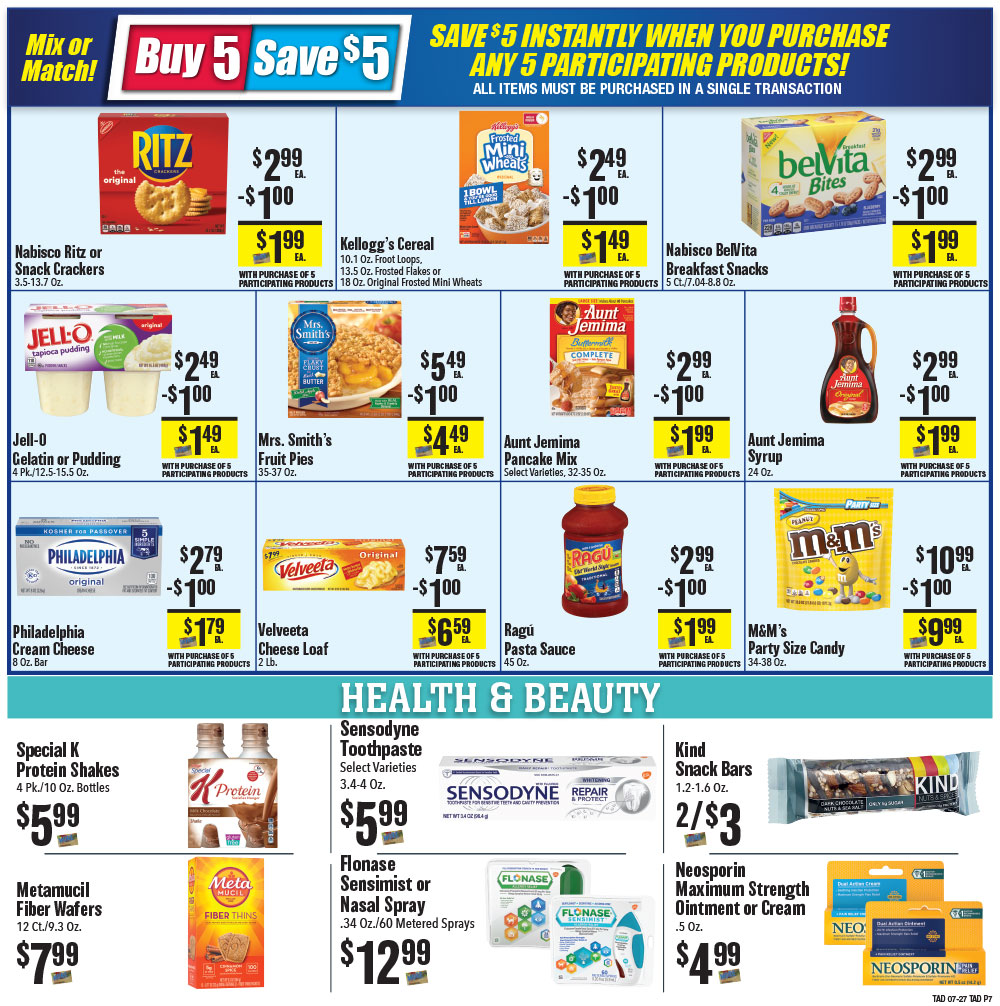 Tadych's specials for week of 7-27-20