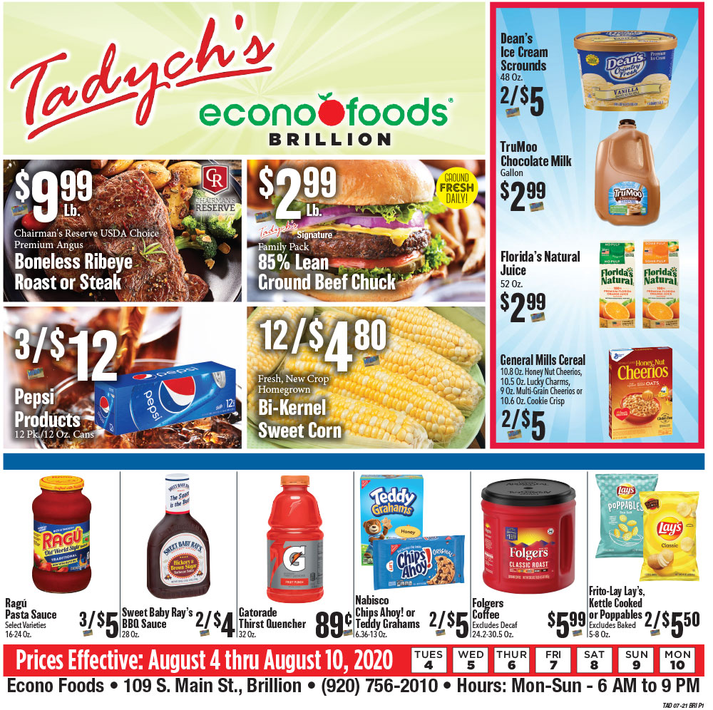 Tadych's Brillion specials for week of 8-3-20