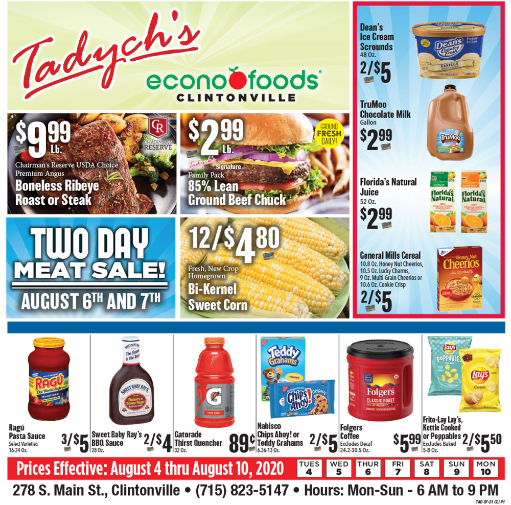 Tadych's Clintonville specials for week of 8-3-20