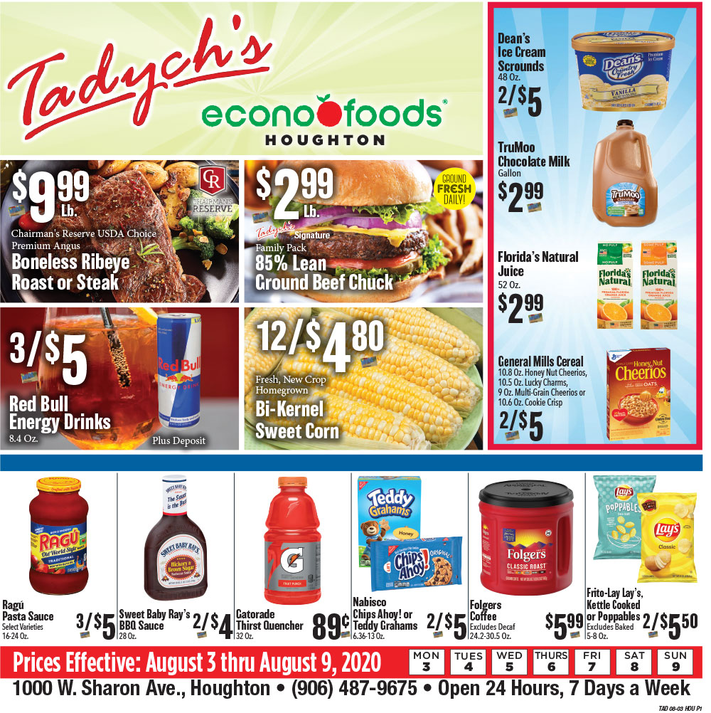 Tadych's Houghton specials for week of 8-3-20
