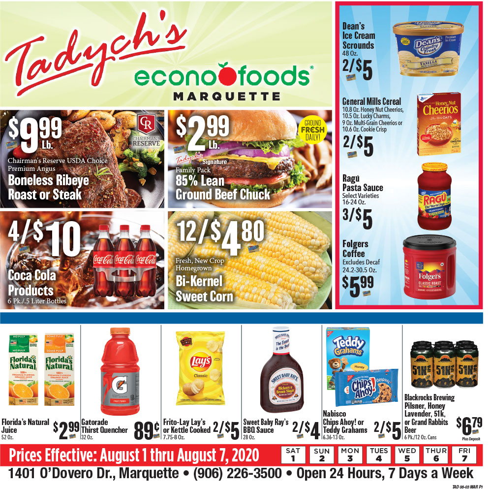 Tadych's Marquette specials for week of 8-3-20