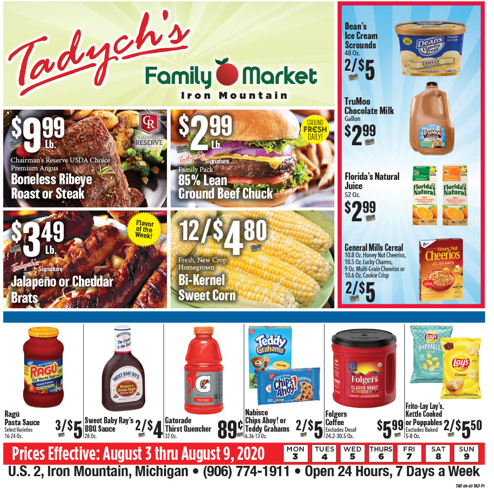 Tadych's Iron Mountain specials for week of 8-3-20