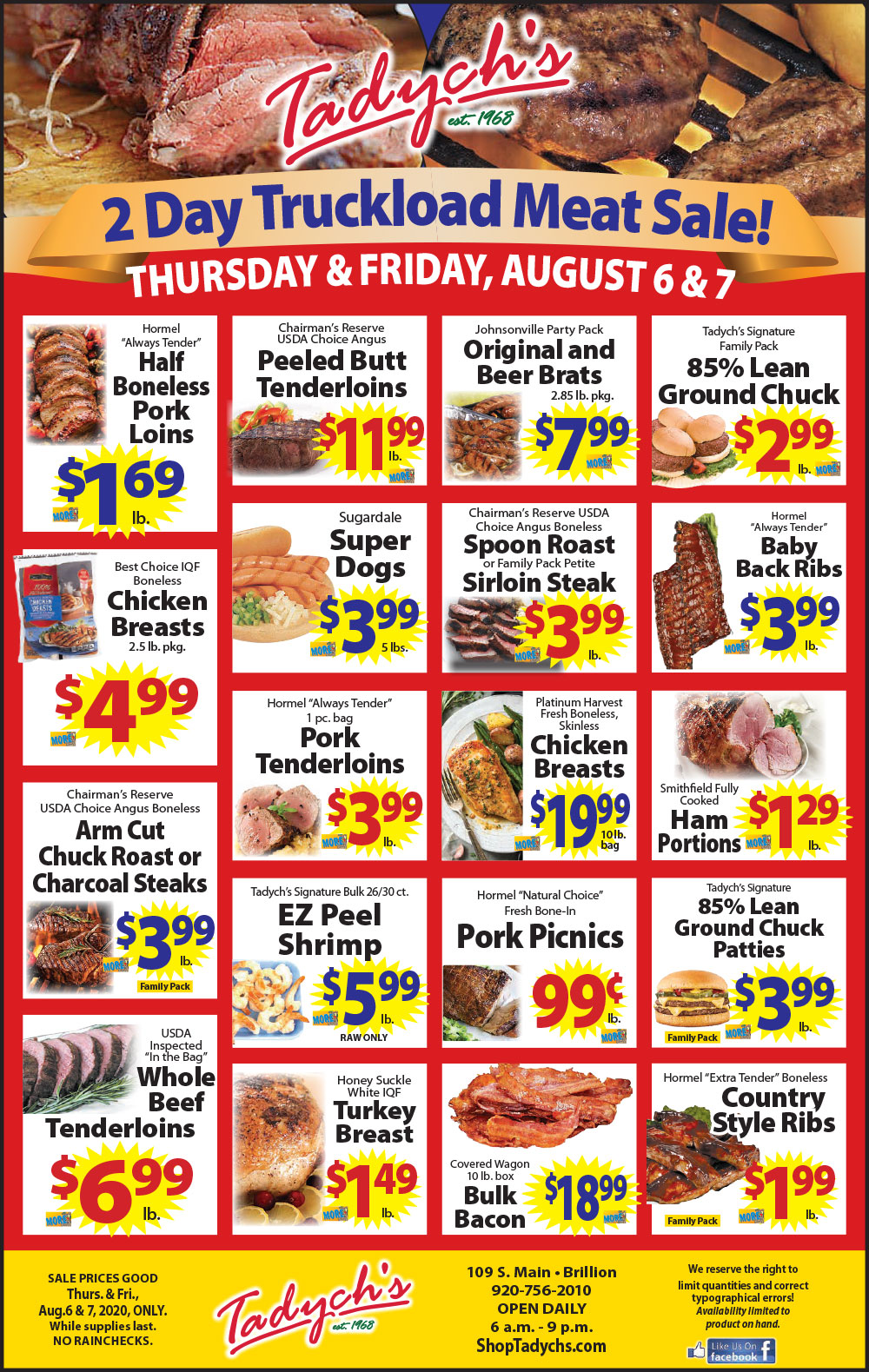 Tadych's Brillion Truckload Meat Sale Aug 6-7