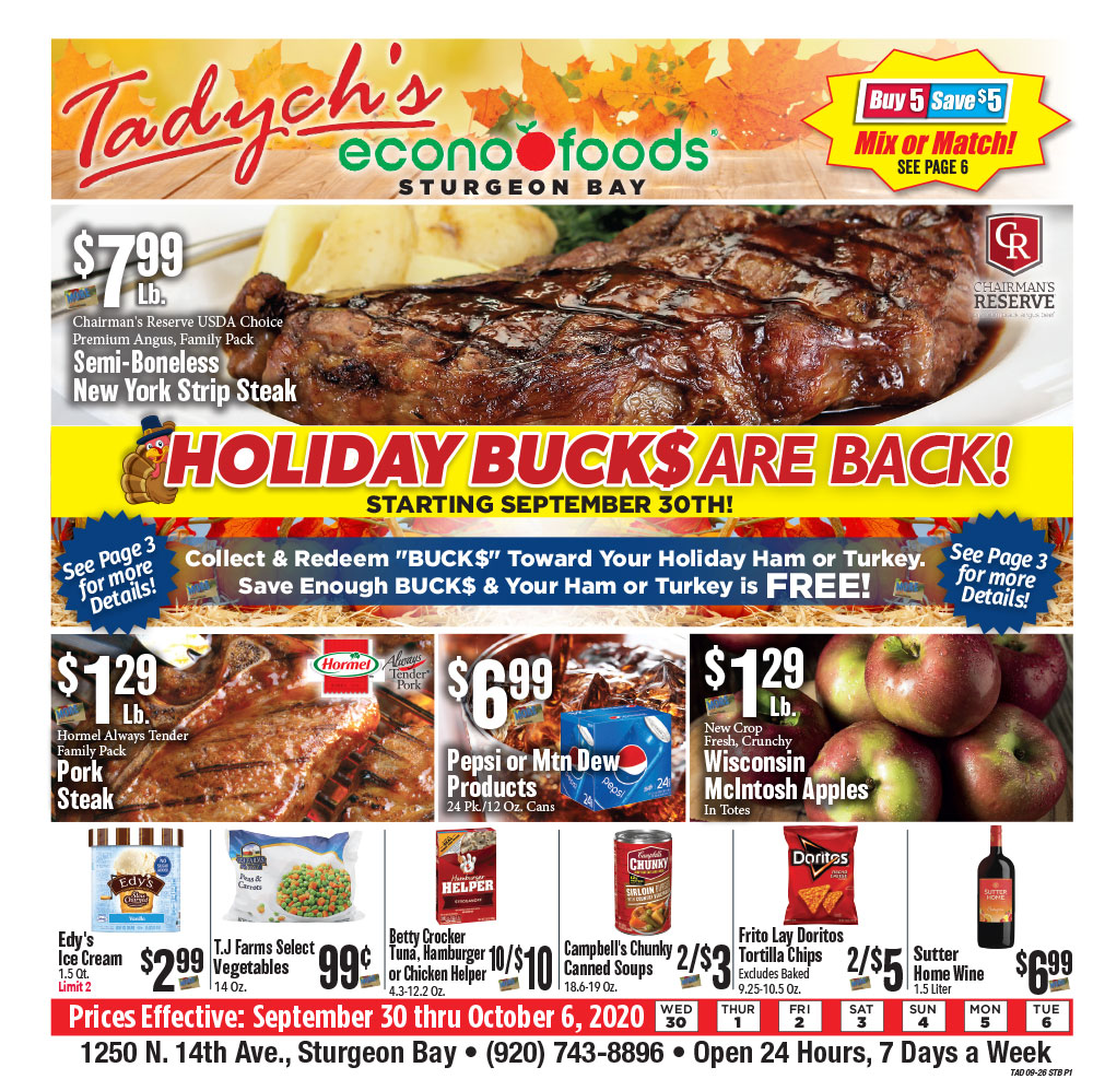 Tadych's Sturgeon Bay specials for week of 9-28-20