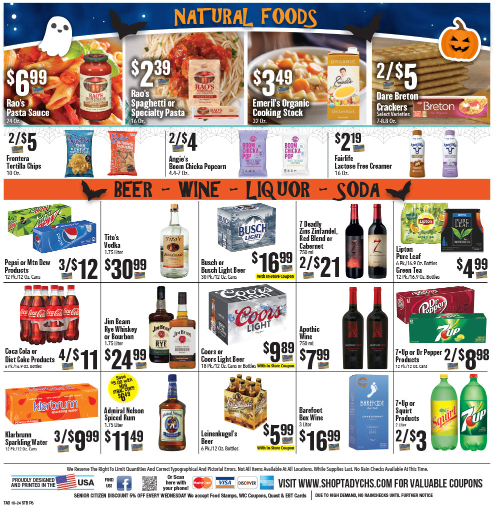 Tadych's Sturgeon Bay specials for week of 10-24-20