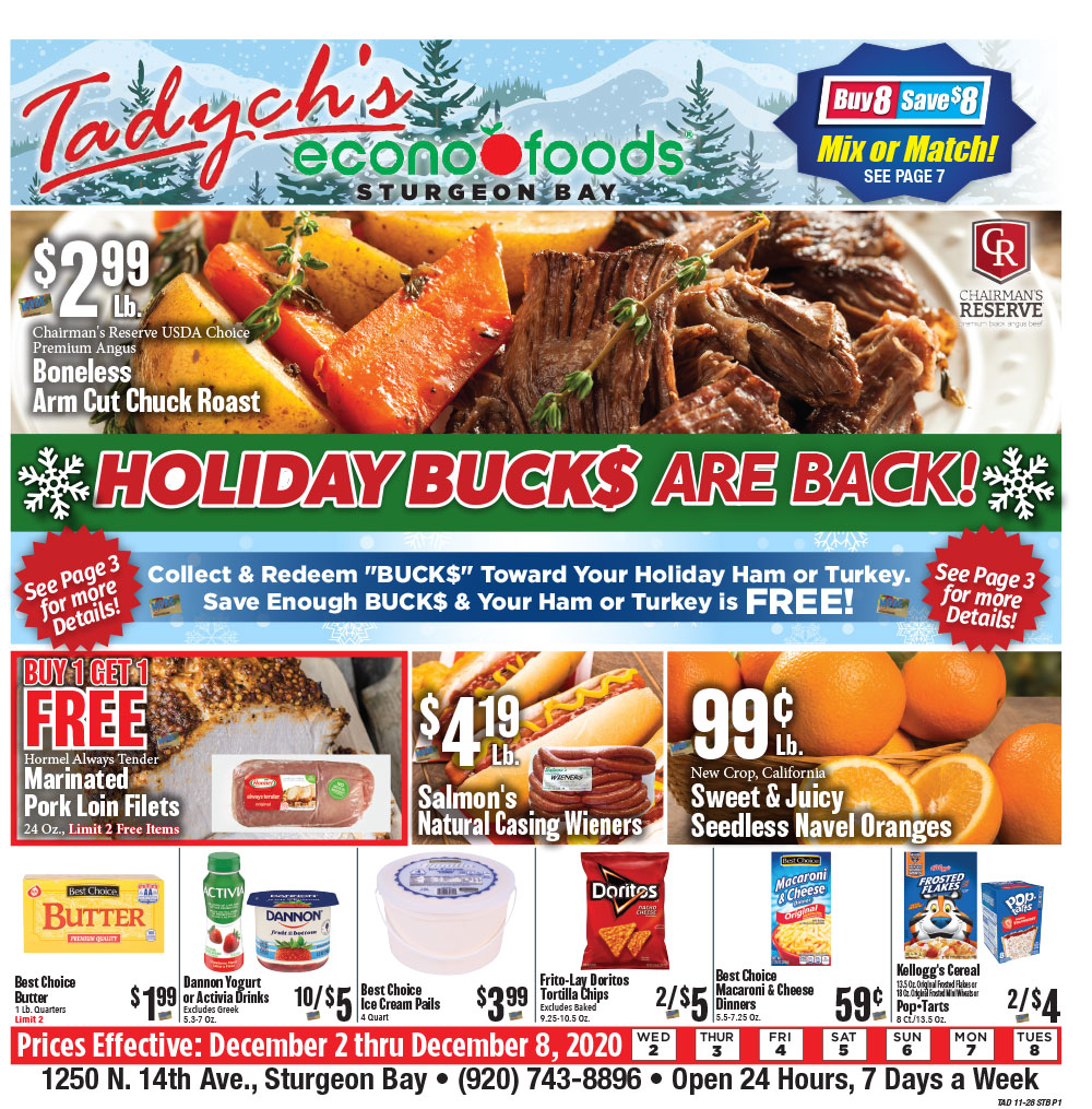 Tadych's Sturgeon Bay specials for week of 11-28-20