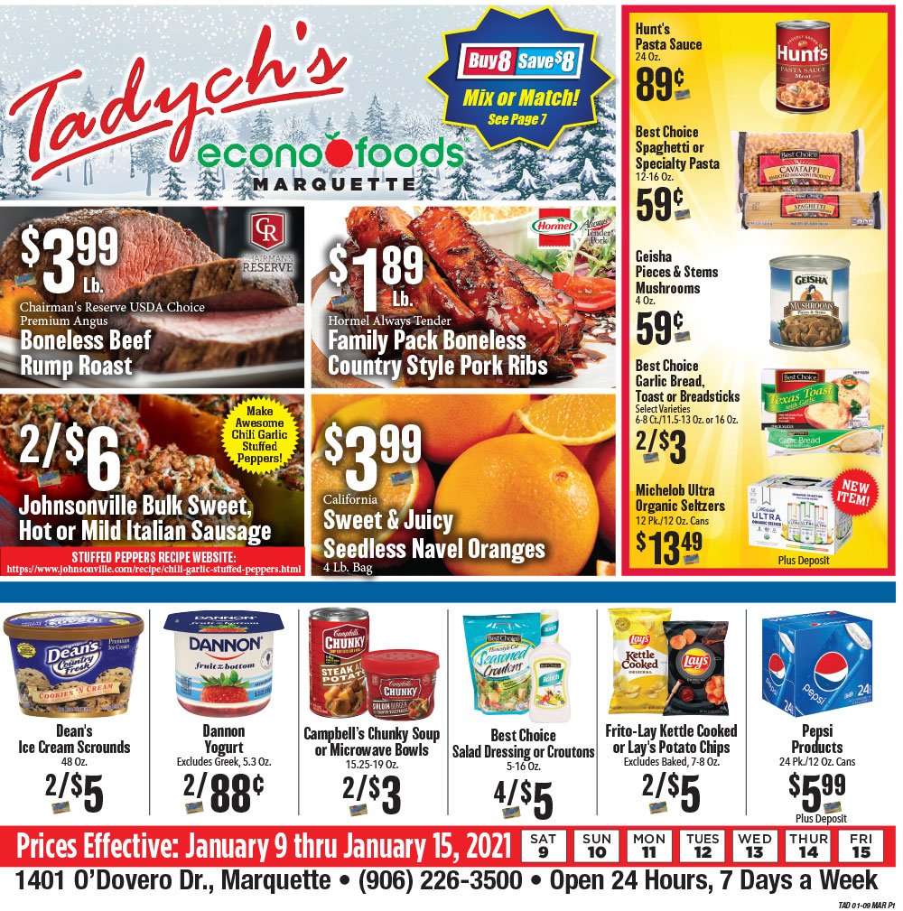 Tadych's Marquette specials for week of 1-13-21