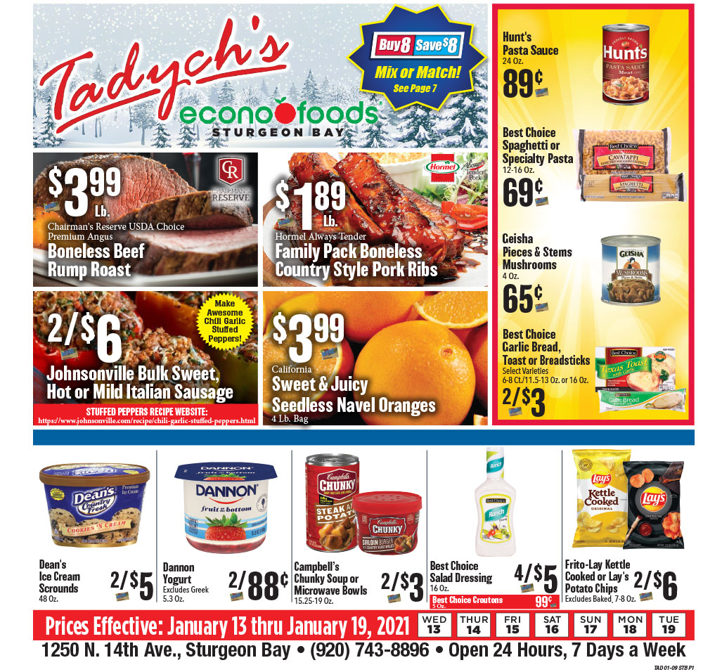 Tadych's Sturgeon Bay specials for week of 1-13-21