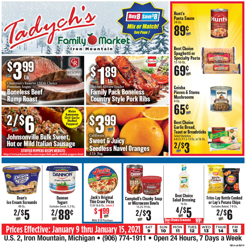 Tadych's Iron Mountain specials for week of 1-13-21